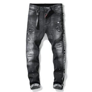 autumn and winter new tattered splash paint stitching men's slim stretch jeans black tight beggar pants