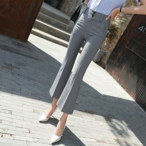 micro-la suit pants female nine-point pants summer new professional flared pants Korean slim women's pants