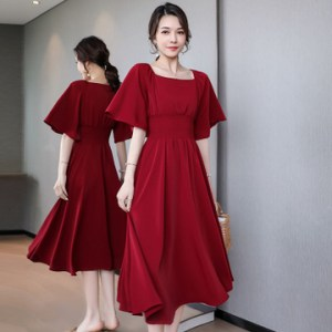 wine red dress square collar very fairy waist waist dress summer new popular red skirt retro French