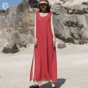 Northern Tribe Summer New Retro contrast color slit suspender dress Loose elegant sleeveless dress