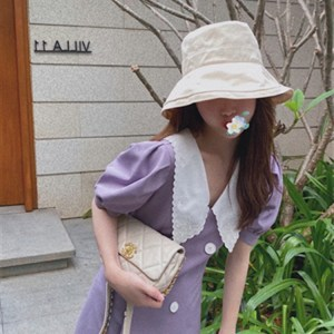 custom models summer new purple doll collar bubble sleeve dress double-breasted short-sleeved word skirt female tide