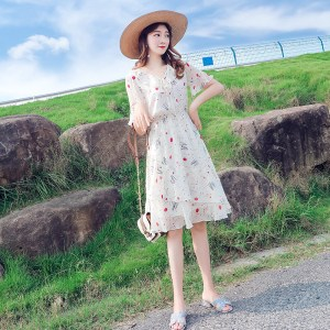 floral floral chiffon dress women's new summer Korean version of the long section waist slimming trumpet sleeves small fresh skirt
