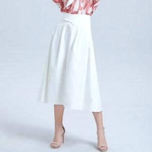summer new women's solid color cross waist mid-length word skirt pleated loose loose thin wild swing skirt