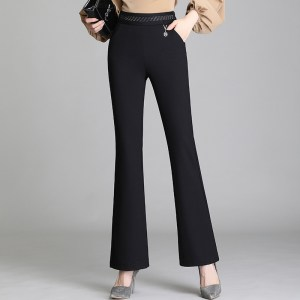 Xiyi women's trousers micro flared pants women's spring and summer new high waist black pants were thin nine points