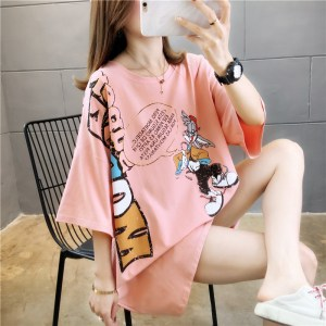 a variety of printed cotton summer Korean loose printed mid-length large size women's short-sleeved shirt women