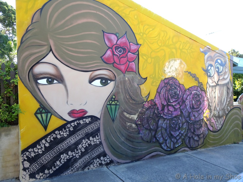 On the side of a house in Fremantle by Lady Bananas, Lady Poise and Tomahawk