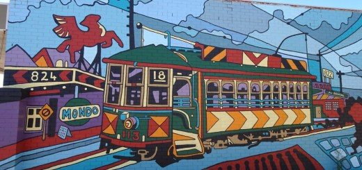 Artwork on Mondo Butchers in Inglewood recognising the Beaufort St trams from 1899-1958. Artist Melski