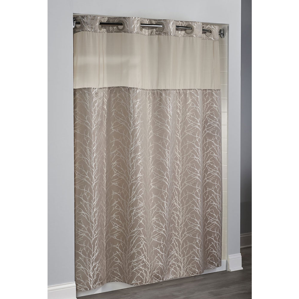 Hookless Tree Branch Polyester Shower Curtain W Its A Snap Replaceable Liner 71x77 Taupe 12
