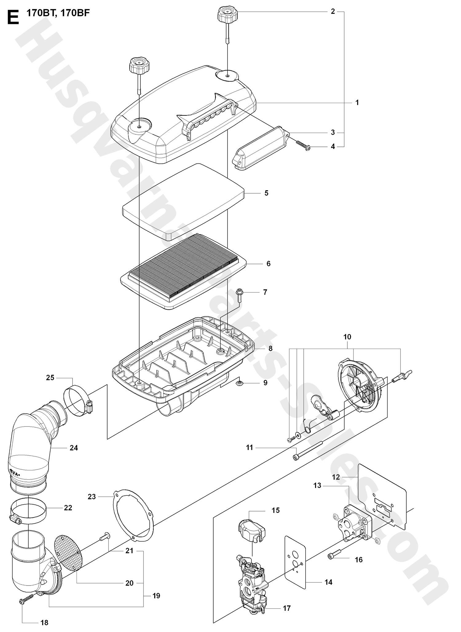 170bt Husqvarna Backpack Blowers Carburetor Amp Air Filter Parts
