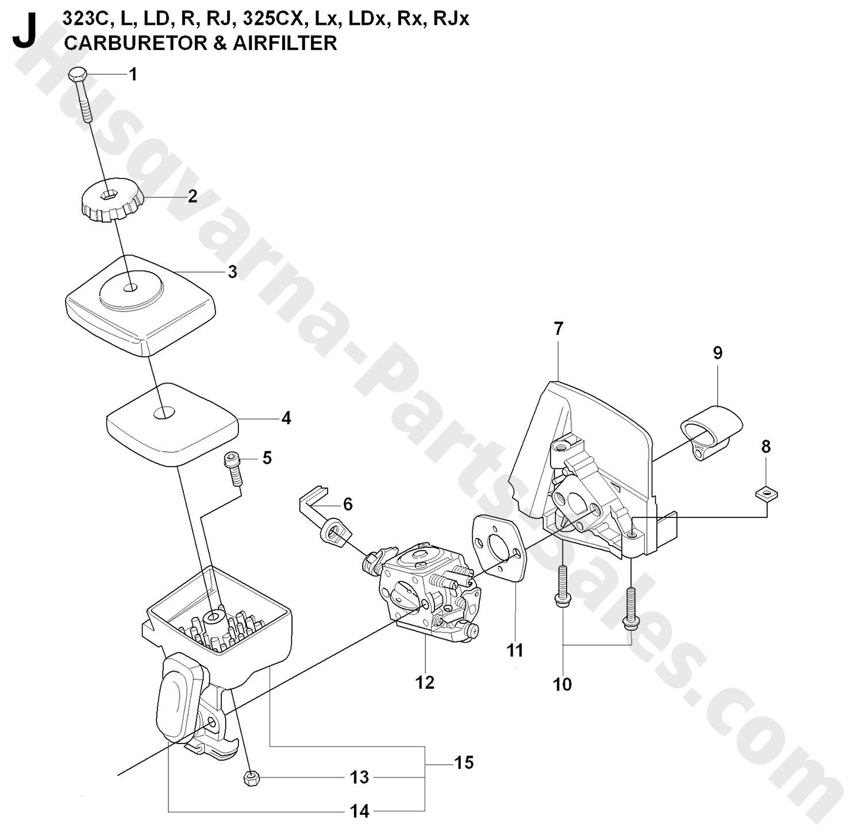 323r Husqvarna Brushcutter Carburetor Amp Air Filter Parts