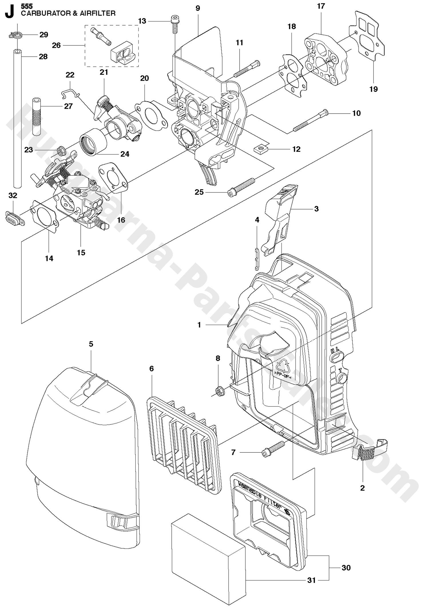 555fx Husqvarna Brushcutter Carburetor Amp Air Filter Parts