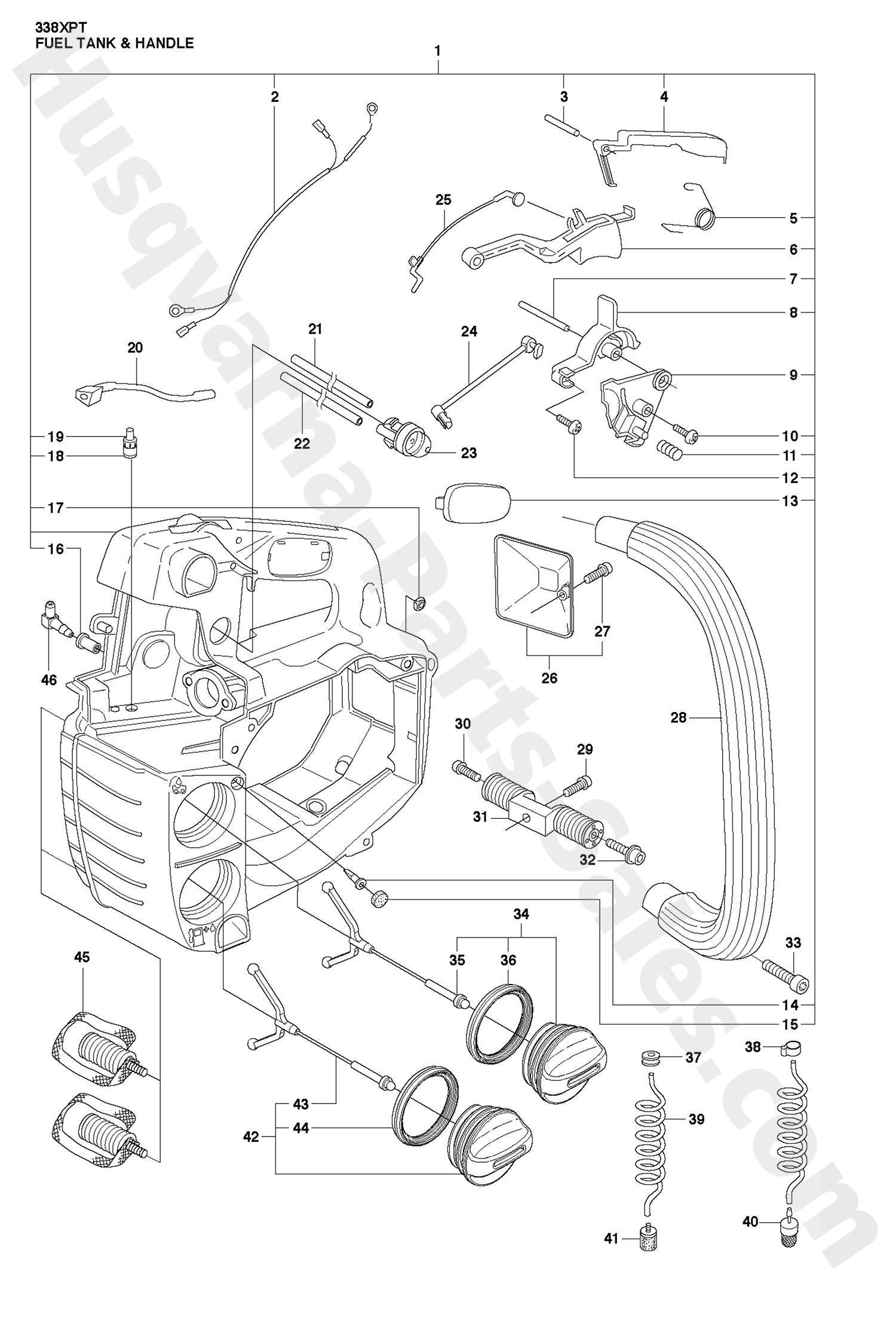 338xpt Husqvarna Professional Chain Saw Fuel Tank Amp Handle