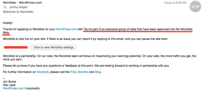 Email Pemberitahuan DIterima WordAds
