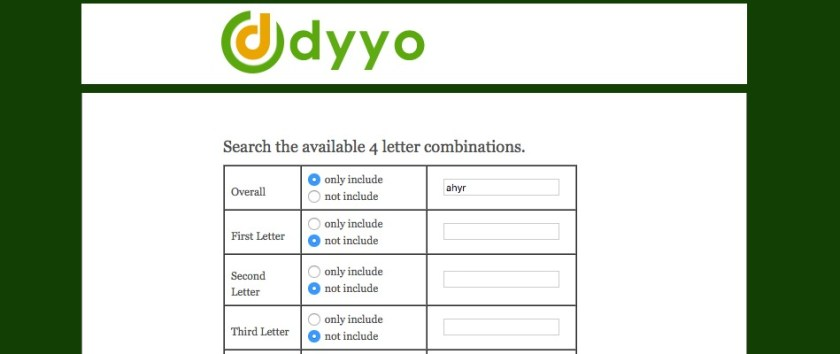 dyyo The four 4 letter domain name specialist