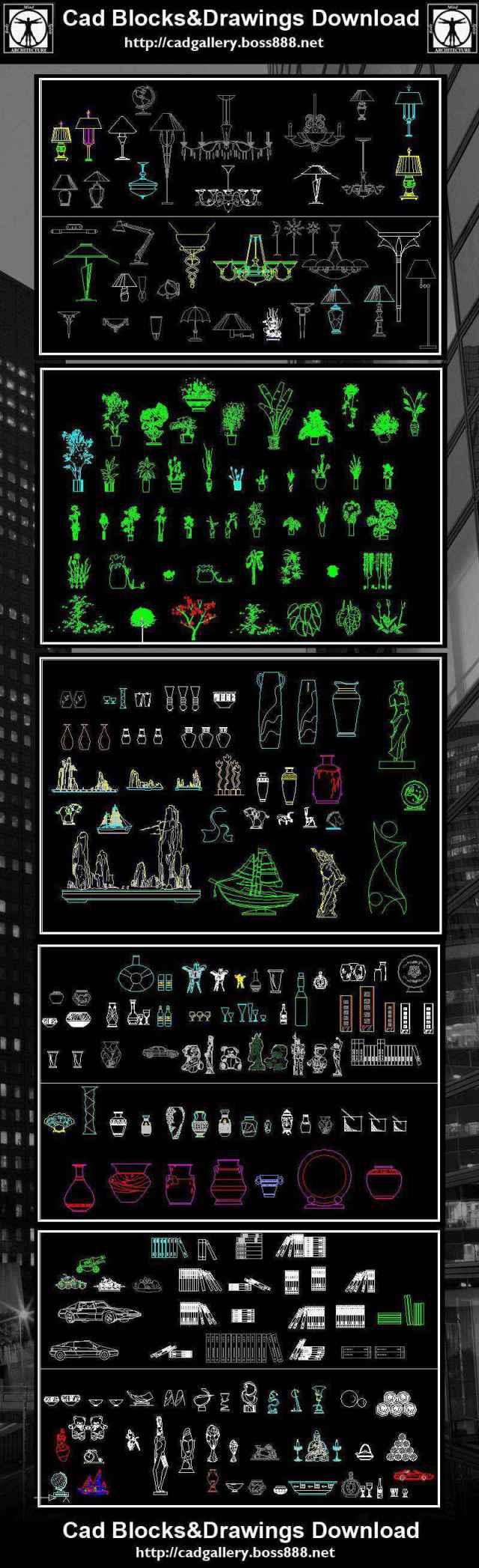 chandle sticks, clocks, fireplaces, plants, pots, vases