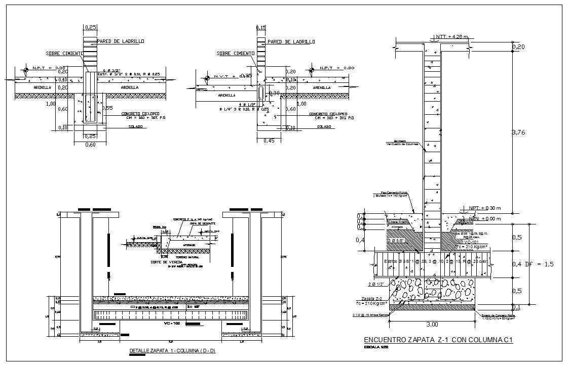foundation details v1 architectural autocad drawings blocks details download center. Black Bedroom Furniture Sets. Home Design Ideas