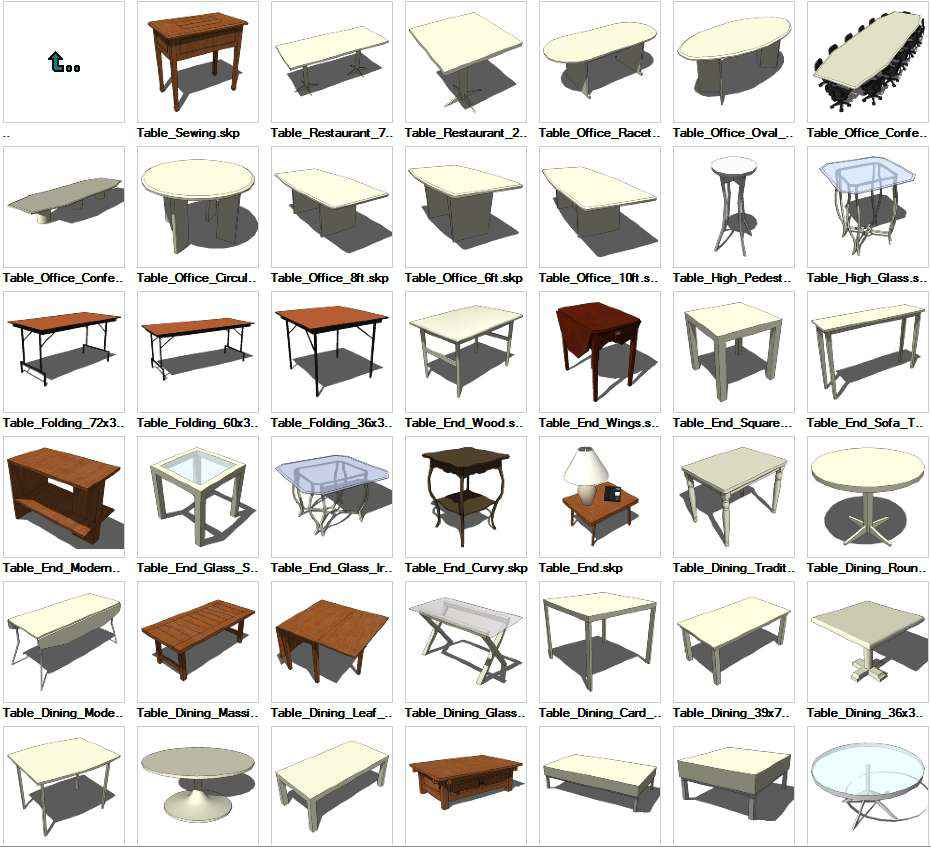 Sketchup Tables 3D Models Download