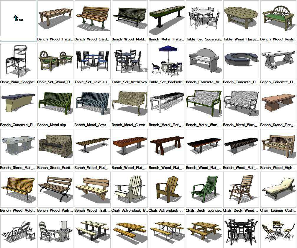 Sketchup Furniture Exterior 3D models download