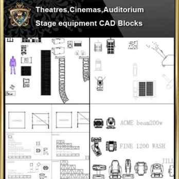 ★【Auditorium ,Cinema, Theaters CAD Blocks-Stage Equipment CAD Blocks V2】@Cinema Design,Autocad Blocks,Cinema Details,Cinema Section,Cinema elevation design drawings