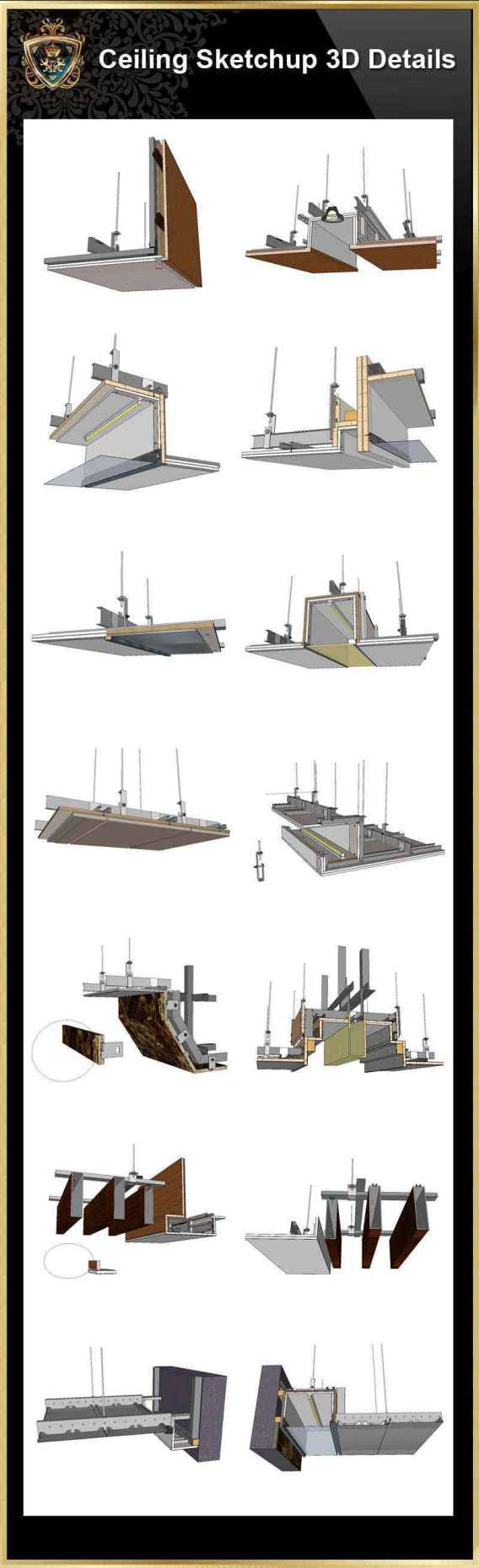 【Best 70 Types Ceiling Sketchup 3D Detail Models】 (★Recommanded★)(*.skp file format). ThisSketchup 3D CAD modelscollection can be used in your 3D design drawings(Sketchup,Autocad,3D max,Revit). Download Best 70 Types Ceiling Sketchup 3D Detail Models(*.skp file format). This Sketchup 3D models collection can be used in your 3D design software(Sketchup,Autocad,3D max,Revit).Downloading 3D Sketchup Models to fuel your creative pursuits. Include the followings sketchup 3D Models: Sketchup Ceiling Details-01-light steel frame ceiling - hard cover ceiling.skp Sketchup Ceiling Details-01-plasterboard ceiling .skp Sketchup Ceiling Details-02-plasterboard ceiling - gold and silver foil ceiling .skp Sketchup Ceiling Details-02-plasterboard ceiling - sewed ceiling.skp Sketchup Ceiling Details-03-plasterboard ceiling - Malay paint, diatom mud.skp Sketchup Ceiling Details-03-plasterboard ceiling-mirror ceiling.skp Sketchup Ceiling Details-04-stainless steel ceiling.skp Sketchup Ceiling Details-04-wood veneer ceiling.skp Sketchup Ceiling Details-05-mineral wool board ceiling-1.skp Sketchup Ceiling Details-05-mineral wool board ceiling-2.skp Sketchup Ceiling Details-06-calcium silicate board ceiling.skp Sketchup Ceiling Details-06-mineral wool board ceiling.skp Sketchup Ceiling Details-07-air conditioning duct.skp Sketchup Ceiling Details-07-glass ceiling.skp Sketchup Ceiling Details-08-air conditioning duct.skp Sketchup Ceiling Details-08-glass partition.skp Sketchup Ceiling Details-09-plasterboard ceiling ceiling connect with stone 2.skp Sketchup Ceiling Details-09-plasterboard ceiling connect with stone 1.skp Sketchup Ceiling Details-10-plasterboard ceiling ceiling connect with glass.skp Sketchup Ceiling Details-10-smoke blocking wall.skp Sketchup Ceiling Details-11-plasterboard ceiling is connected to aluminum plate 1.skp Sketchup Ceiling Details-11-plasterboard ceiling is connected to aluminum plate 2.skp Sketchup Ceiling Details-12-plasterboard ceiling is connected to the m