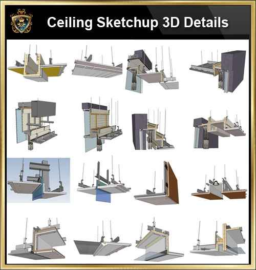 【Best 70 Types Ceiling Sketchup 3D Detail Models】
