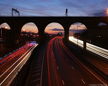 The M60 and light trails with Stockport viaduct