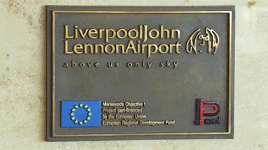 Liverpool John Lennon Airport EU plaque