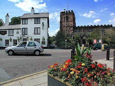 Cheadle White Hart pub and St Mary's church
