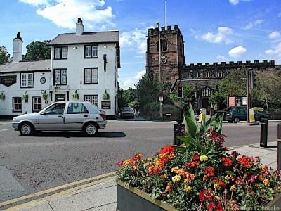 Cheadle White Hart pub and St Mary's church