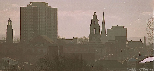 Townscape of Stockport captured on film in 1999