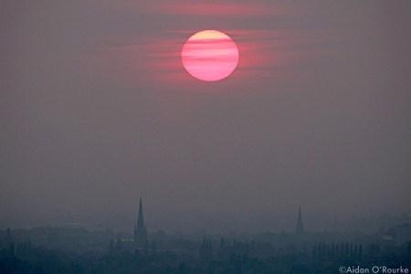 Misty sunset over Stockport