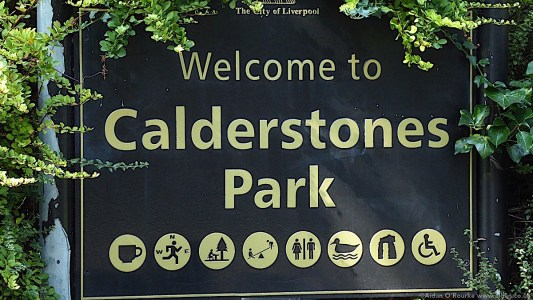 Calderstones Park sign