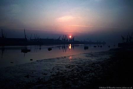 Sunrise over Dublin docks 1981