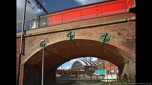 Rail viaduct and Hacienda Manchester