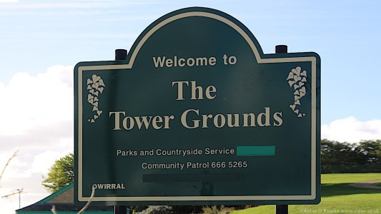 Welcome to the Tower Grounds sign, New Brighton