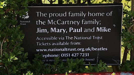 Paul McCartney 20 Forthlin Rd National Trust sign
