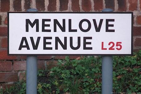 Menlove Avenue L25 sign