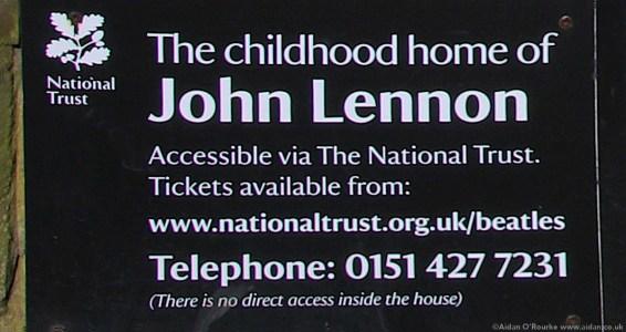Childhood home of John Lennon National Trust sign