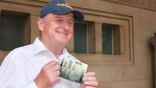 Aidan O'Rourke with his exposure crib card