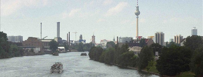 Berlin view along the river Spree towards the city