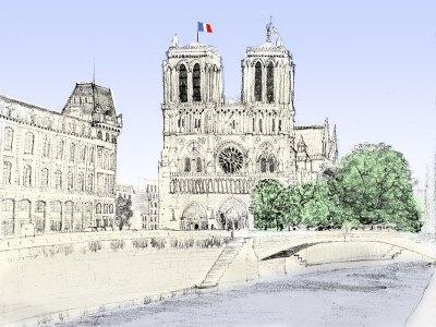 Notre Dame, Paris illustration by Aidan O'Rourke
