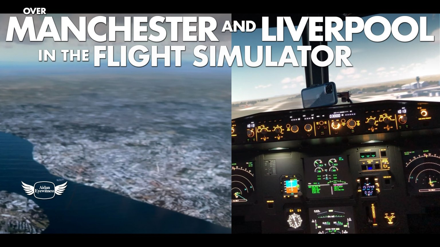 Over Manchester and Lverpool in the flight simulator