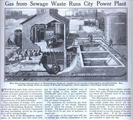 Gas from Sewage Waste Runs City Power Plant