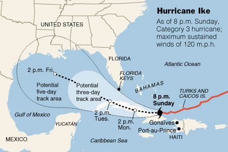 Potential Path of Hurricane Ike