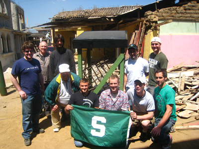 Mechanical Engineering team from Michigan State University at AIDG Guatemala working on a solar refrigerator