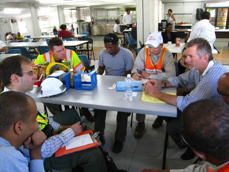 MCEER-AIDG Emergency Engineering Support Unit get debriefed by Andrew Morton, UNEP