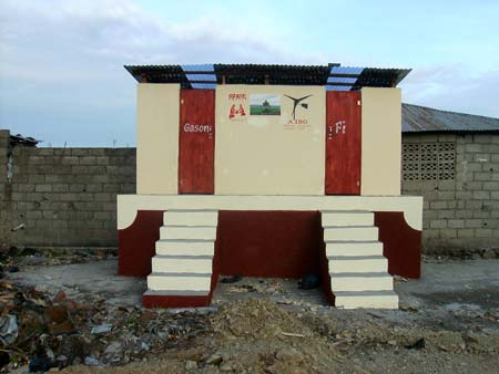 dry composting latrine, finished and painted