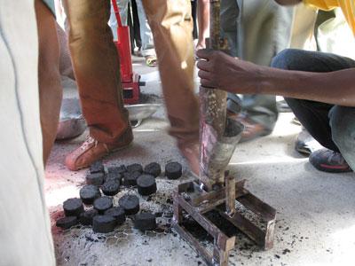Making the briquettes