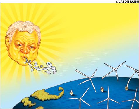 Kennedy, the sun, blows wind turbines away'