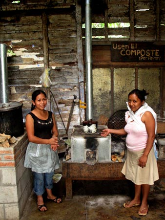 Rosalinda and Josefina help us with stove testing.